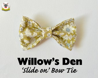 Slide on bow tie 'Willow's Den' // floral bow tie for collars, dog bow, cat bow, removable bow tie, Crafts4Cats