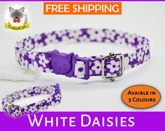 Floral cat collar, purple cat or kitten collar, dog collar, breakaway cat collar, Crafts4Cats