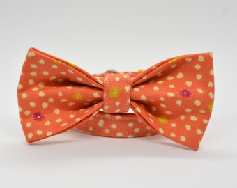 Halloween bow tie/ Orange cat collar / Breakaway cat collar / Pumpkin charm & bell / Safety kitten collar / Autumn Fall cat collar