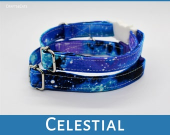 Celestial cat collar /purple cat collar breakaway / stars, celestial cat collar,kitten collar,galaxy cat collar,Crafts4Cats