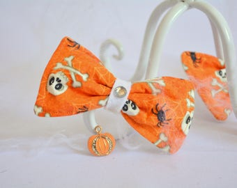 Cat bow tie / Halloween cat bow tie / cat collar bow tie / Skulls bow tie / costume for pet /Crafts4Cats