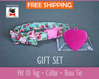 Cat collar bowtie Cat ID tag pink heart with breakaway collar & bow tie and bell - kitten collar - cat collar