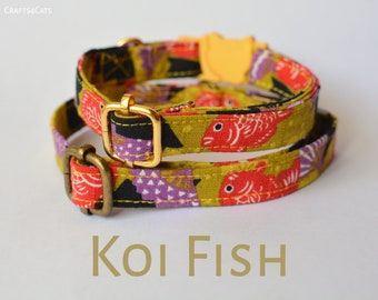 Koi Fish cat collar/ breakaway or non-breakway, luxury collar, nishigikoi, lucky collar, kitten collar,Crafts4Cats