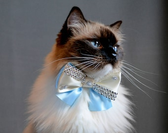 Luxury cat bow tie  ' Night' - bow tie cat collars with large heart silver bell- two colour cat bow tie - slide on bowtie