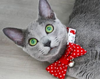 Cute cat collar bow tie - Red or Blue cat collar breakaway - kitten collar - red polka dot cat collar - cat collar - boy - girl