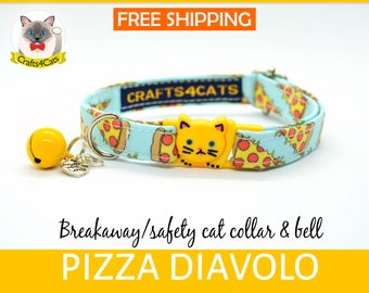 Cat collar Pizza cat collar// Organic cotton, kitten collar,cat collar breakaway/non breakaway, safety cat collar/ cute cat collar