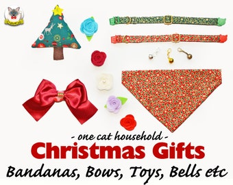 Christmas gift sets: collar with bell, bow tie, rose flower, bandana, catnip toy, breakaway collar, cat colalr, kitten collar, Crafts4Cats