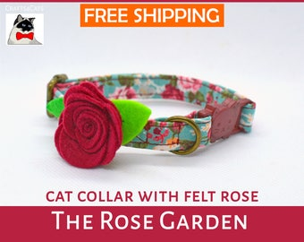 Valentine Rose cat collar for cat, dog or other small furry animal