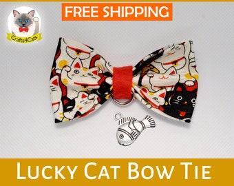 Cat bow tie // Lucky Cat // Maneki Neko bow ties with cat collar, kitten collar, cat collar with Maneki Neko bell