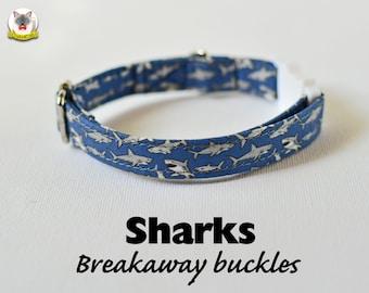 Collar 'Sharks' (breakaway) / cat collar, kitten collar, cat collar with fish charm, cat collar with bell, handmade / CRAFTS4CATS