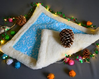 Blue winter bed for pets - Christmas pattern with deer,,snowflakes