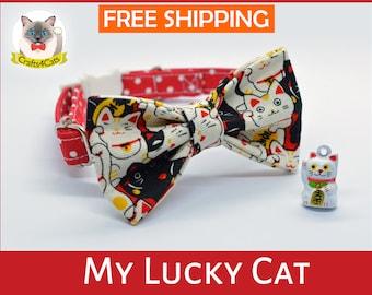 Cat collar & bow // My Lucky Cat // Maneki Neko bow tie, safety breakaway cat collar, kitten collar, cute, cat collar with bell