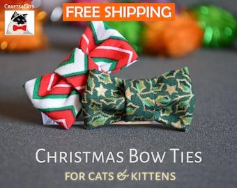Christmas collar & bow tie for cat - breakaway cat collar - kitten collar bow tie - fancy cat bow tie - bow tie for bunny