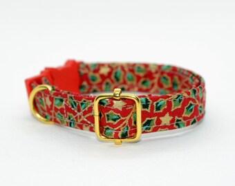 Cat collar 'Winter Red' (breakaway,non breakaway)/ Seasonal collar,kitten collar, dog collar, red gold leaves, starts cat collar collar