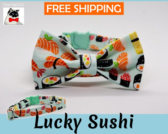 Featured listing image: Cat bow tie 'Lucky Sushi', breakaway cat collar, kitten collar, cat collar with Maneki Neko bell, mint cat collar,blue,silver,Crafts4Cats