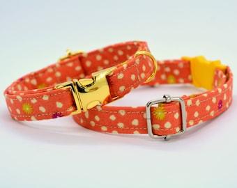 Halloween orange cat or dog collar / Breakaway cat collar / Pumpkin charm & bell / Safety kitten collar / Autumn/Fall cat collar