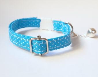 Cat collar 'Jaylin' (breakaway)/ bow tie, blue cat collar with bell, breakaway cat collar,
