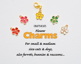 Charms flowers for cat collars, small red, pink, yellow, green, white flowers charms for cat collars CRAFTS4CATS