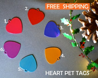 Cat Heart pet tag | Cat ID personalised - cat tag with a bell, dog tag, pet id engraved - Cat and dog collar tag -  gift