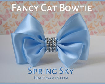 Fancy Cat Bow Tie with Collar - Cat Collar - Baby Blue Cat Collar with Bling Centre - Bling Cat Collar