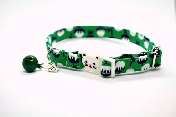 Collier pour chat bio collier chat/vert / cloche de sécurité breakaway bio chat collier, collier de chat, mignon, chaton collier, Crafts4Cats
