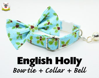 Cat collar + Bow Tie Set 'EnglishHolly' (breakaway or non breakaway)/ cat collar with bell, breakaway cat collar,blue cat collar,dog collar