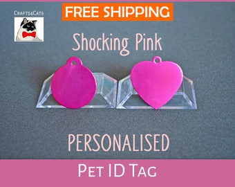 Cat ID tag - girl cat tag - Personalised pet tag with a bell, dog tag, pet id engraved - Cat and dog collar tag