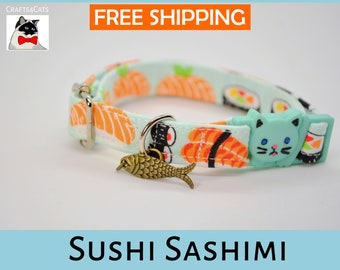 Breakaway cat collar//Sushi Sashimi//cat collar,kitten collar,cat collar with fish charm,fish pet tag,mint cat collar,Crafts4Cats