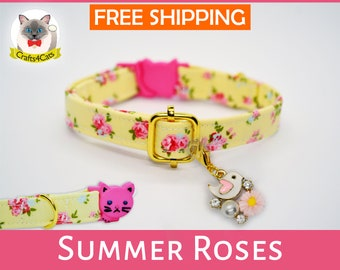 Cat collar// Summer Roses //breakaway cat collar, safety kitten collar, yellow / pink cat collar, floral cat collar, girl cat collar