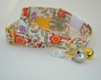 Cat Collar 'Spring Flowers' (breakaway) / Floral cat collar, cat kitten collar, dog collar,burnt orange cat collar, purple, Crafts4Cats