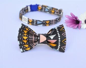 Cat collar with bow 'Luna', organic cotton cat collar, kitten collar, cat collar with bell, bow tie for cat