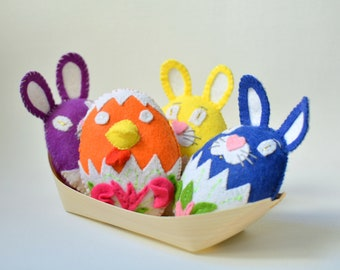 Luxury cat toys - Easter catnip toys made from felt - Eggs, bunnies, chicks