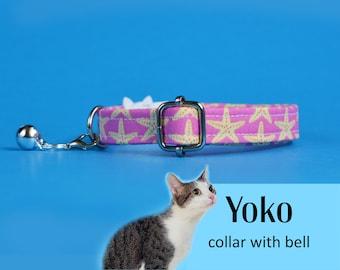 Cat collar Yoko (breakaway) /yellow starfish cat collar, kitten collar, cat collar with bell, pink cat collar, cute cat collar CRAFTS4CATS
