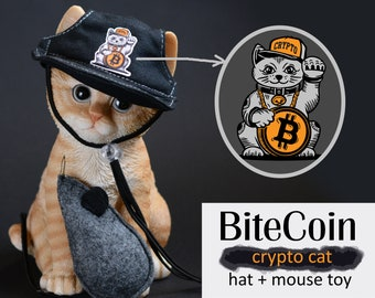 Hat for cat 'BiteCoin' + cat mouse toy, lucky cat costumes for cat, funny hat for cat, Halloween cat, gifts for cats