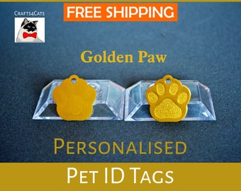 Cat ID tag - Golden Paw - Personalised pet tag with a bell, dog tag, pet id engraved - Cat and dog collar tag, cute cat collar pet tag