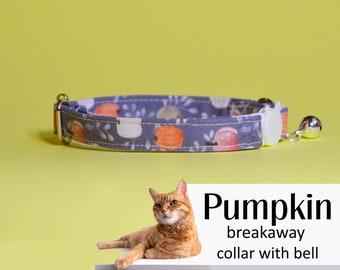 Cat collar Pumpkin / orange, grey cat collar with bell, kitten collar, Halloween cat collar, Thanksgiving, fall/autumn design, dog collar