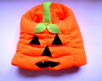 Dog costume 'Pumpkin' jacket // Puffy jacket for dogs,small dog costume, pet costume handmade costume by Crafts4Cats