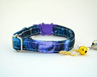 Collar 'Space' (breakaway) / purple, stars, celestial cat collar,kitten collar,galaxy cat collar, collier pour chat ,Crafts4Cats