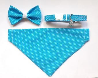 Cat bow + cat collar + bandana set for cats /cat collar breakaway, dog bandana, removable bow tie, blue cat bandana, polkadot cat bandana