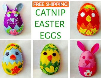 Easter catnip cat toys made from felt, stuffed with organic catnip-valerian & polyester wadding