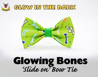 Bow tie 'Glowing Bones' // glow in the dark bones bow tie for collars, dog bow, cat bow, removable bow tie, Crafts4Cats