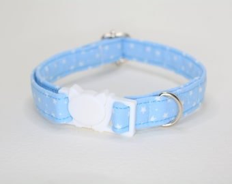 Galaxy Space 'Stars on Blue' cat collar breakaway, blue cat collar, stars cat collar, cat collar with bell , kitten collar, Crafts4Cats