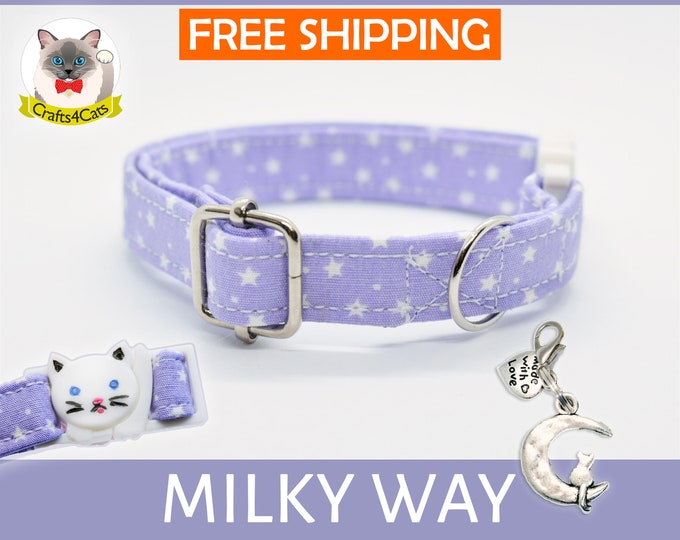 Featured listing image: Breakaway cat collar 'Milky Way',violet cat collar, star cat collar,kitten collar,galaxy cat collar,moon cat collar,cute,bell,Crafts4Cats