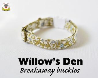 Cat Collar 'Willow's Den' (breakaway) / Novelty cat collar, cat kitten collar, dog collar,floral collar, green cat collar, Crafts4Cats