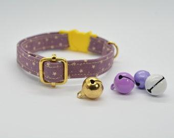 Celestial cat collar & personalised pet tag collar / cosmos, galaxy, puple, cat collar, cute cat collar, breakway, non breakway collar