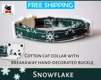 Cat collar breakaway - cat collar Snowflake  kitten collar - green cat collar - breakaway cat collar - cat collar with bell -  kitten