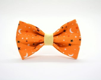 Cat bow tie 'Halloween Night // celestial starts and moon bow tie for collars, dog bow, cat bow, removable bow tie,Cat collar, Crafts4Cats