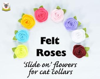 Cat collar Rose flower - slide on flower for cat collar
