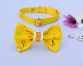 Bow tie cat collar set 'Little Bee' / yellow cat collar with bell, kitten collar, small toy dog collar