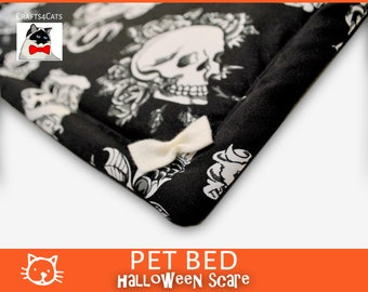 Halloween mats for pets - catnip placemat - Skull Biker Cat Blanket - Pet Mats & Pads - Catnip Mats Refillable